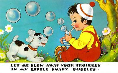 R36. Postcard. Dog and boy blowing bubbles from his pipe.