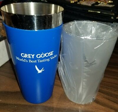 Grey Goose Frosted Mixing Glass Martini Shaker Set New In Box