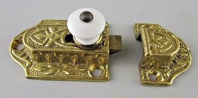 Antique Eastlake Victorian Cast Iron Cabinet Door Latch Lock Porcelain Knob