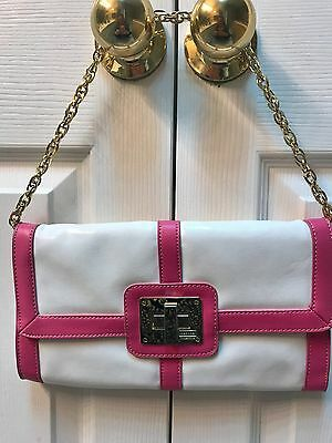 Merona Collection Handbag beautiful pink and white Clutch or Satchel Purse!