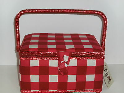 Hobby Gift-Medium-Red/White Over Sized Check Design  Fabric Covered Sewing Box