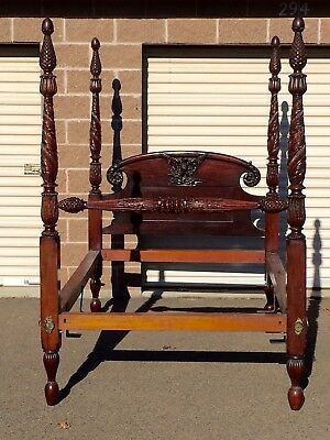 Antique Sheridan American Tiger Maple Bed Beautifully Carved EAGLE  circa 1820