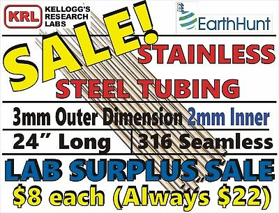 """Lots of 10x 316 STAINLESS STEEL TUBING 24""""-30"""" Straight 3mm OD 2mmID Lab Surplus"""