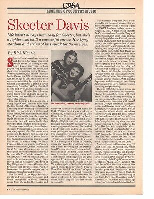 Skeeter Davis 2 Page Magazine Article Clipping 2 Pictures Country Music