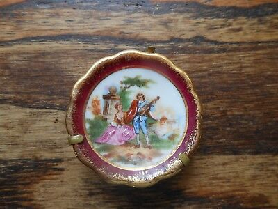 Mini Limoges plate w/stand from france courting couple