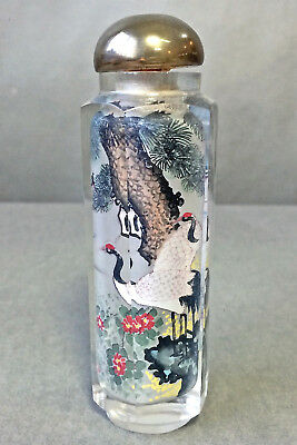 Vintage Chinese Hand Cut Crystal Paneled Reverse Painted Snuff Bottle Cranes