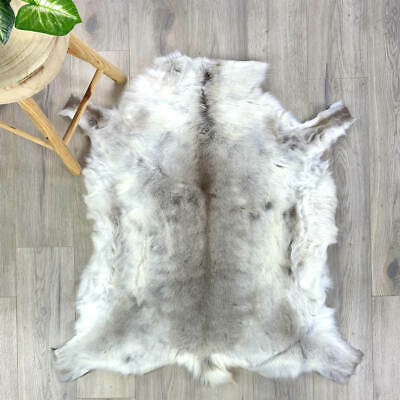 XL GOLDEN BEIGE SCANDINAVIAN REINDEER FUR HIDE PELT THROW RUG premium quality