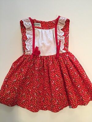 Vintage Baby Girl Liberty House Hawaii Red Folky Print Christmas Dress Eyelet