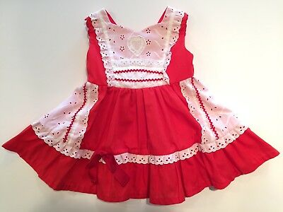 Vintage 1960's Baby Dress 18-24 months Red Apron Dress Heart Eyelet Christmas