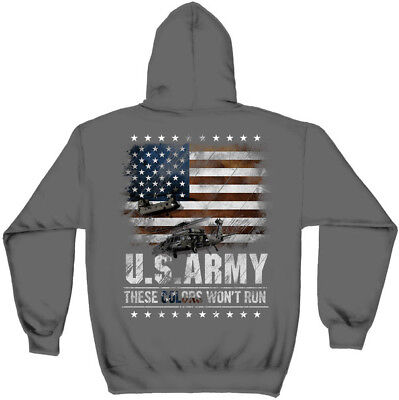 United States Army These Colors Won't Run USA Flag Patriotic Hooded Sweatshirt
