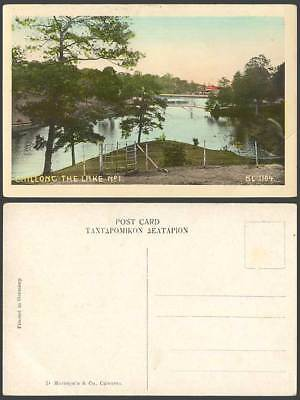 India Old Colour Postcard SHILLONG The Lake No.1 Bridge Panorama SL 1104 Tinted
