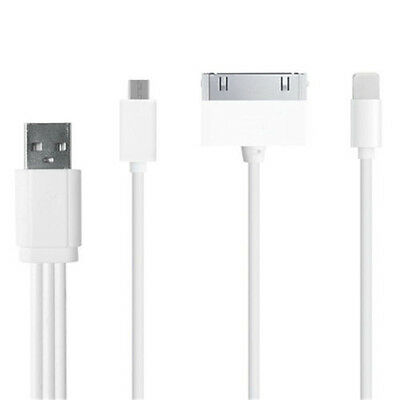 3in1 Set USB Data Sync Cable Charger 9'' White For iphone 5/5s/6/6p Phone Rope