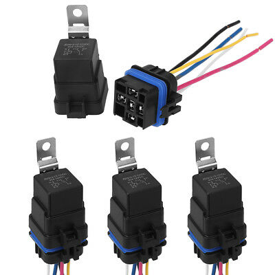 4 pack 12V 40 amp Car Auto 5 pin & wire Relay Waterproof Plug Socket Heavy Duty