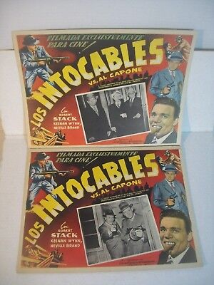 'THE UNTOUCHABLES vs. AL CAPONE' lot of 2 vintage Mexican Spanish Lobby cards