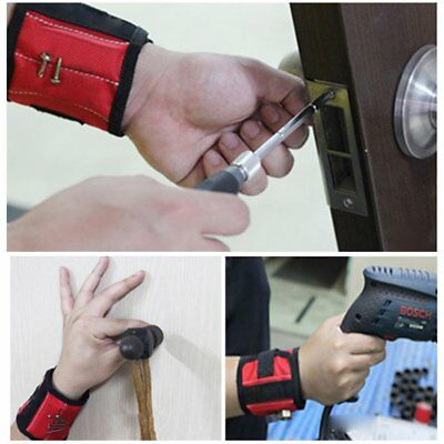 Magnetic Wristband with Two Strong Magnets & Adjustable Nylon Sticker Strap WW