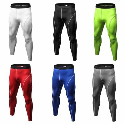 Men Compression Pants Tights Solid Color Quick Drying Running Skinny Leggings W0