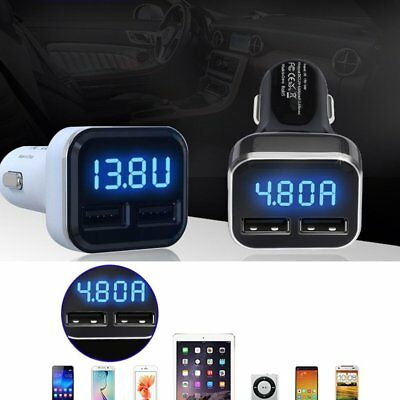 Dual USB Car Charger 4.8A Adapter LED Display Fast Charging For iPhone Samsung U