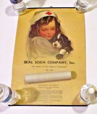 RARE 1944 Seal Soda Company WW2 Advertising Calendar Angel of Mercy Red Cross