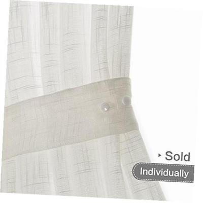 french door curtain panel linen look 72 inch sheer curtain white, tieback