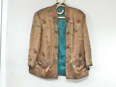 Vintage ASIAN REVERSIBLE JACKET w Pockets by Peony Bronze & Green Floral Design