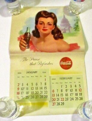 1944 Coca-Cola Calendar Pinup Girls The Global High-Sign Coke Advertising WWII