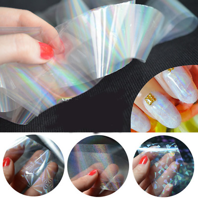 Nail Art Transfer Foil Holographic Clear Nail Art Glitter Stickers 3D Nail Decor