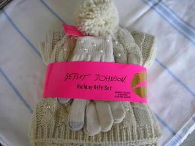 Betsey Johnson Knitted Infinity Scarf, Beanie Hat, EZ Tap Gloves Set Ivory NWT