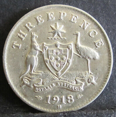 1918 Australia 3d Threepence ** ERROR MISSING DENTICLES ** #171117 =HIGH GRADE=