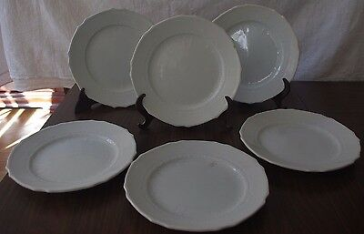 Lote De 6 Platos Con Relieve La Cartuja Pickman China Opaca S.xix / S.xix La Car