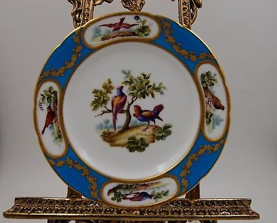 Rare Antique 1881 Minton-T.goode & Co-London Bird Cabinet Plate Plaque