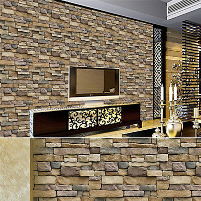 3D PVC Self Adhesive Wall Sticker Decal Brick Stone Living Room Background Decor