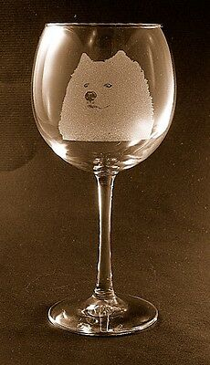 New Etched Samoyed on Large Elegant Wine Glasses