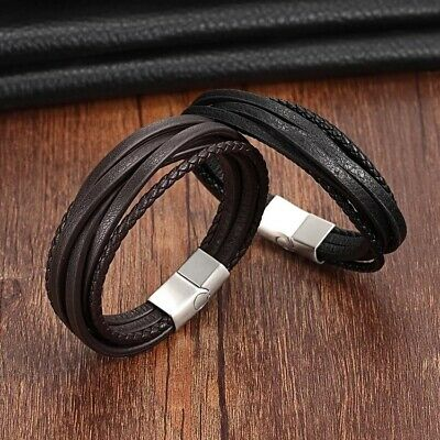 Men's Genuine Leather Handmade Braided Bracelet Wristband Black Brown