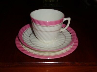 Pretty Trio White With Pink Band Gold Gilt Cup Saucer Side Plate