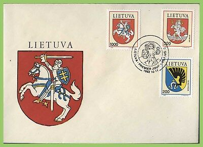 Lithuania 1992 Arms set on First Day Cover