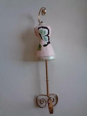"""Paper Mache Mannequin Butterfly Painted Ornate Gold Scrolls 35"""" Tall x 8"""" Wide"""