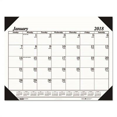 Recycled Workstation-Size One-Color Monthly Desk Pad Calendar, 18 1/2 x 13, 2018