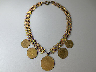 Gorgeous Antique Folklore Gilt Gilded Gold-plated Necklace HUGE COINS YEAR 1905