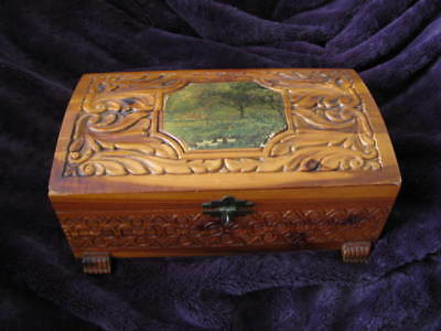 Antique Cedar Jewelry Box Wood Carved Good Condition Preowned