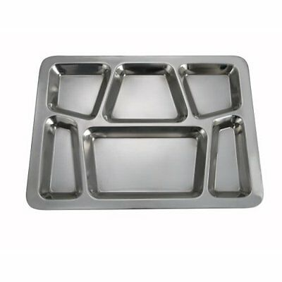 4 Pc Mess Tray Food Cafeteria 6 Divided Compartment Platter Meal Stainless Steel