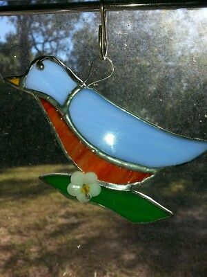 Blue Bird STAINED GLASS New Sun Catcher 5 x 5W in WITH LEAVES and flower