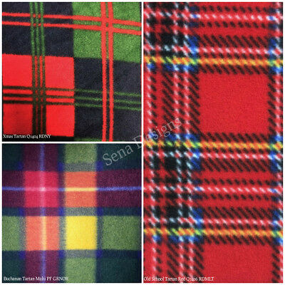 Polar Fleece Anti Pill Fabric Premium Quality Soft Tartans Check Print Craft