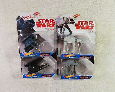 Star Wars Hot Wheels Starships 4 Pack Tie Silencer, Tie X-1, AT-AT, etc NEW MOC
