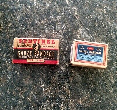 2 unopened Vintage medical gauze bandage boxes. SENTINEL & BAY'S  (40's-50's)