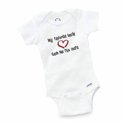 My Favorite Uncle Gave Me Onesie Baby Clothing Gift Funny Cute Toddler Boy Girl