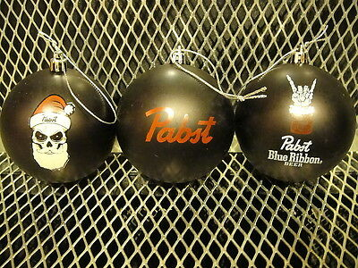PBR PABST BLUE RIBBON BEER Set 3 BLACK CHRISTMAS Ornaments Skull Santa + STICKER