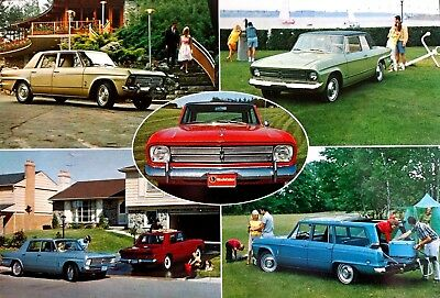 1966 Studebaker Giant Post Card Commander Wagonaire Daytona Cruiser Brochure 66