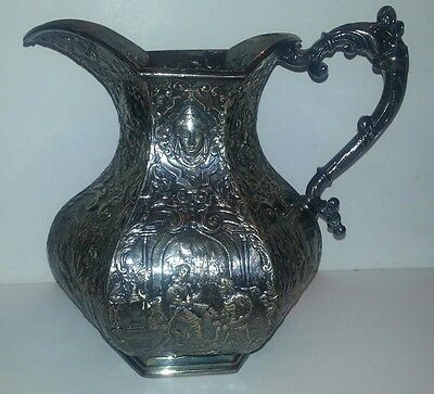 (Very Rare) Eg Webster Silverplate Reprousse Water Pitcher Super Condition