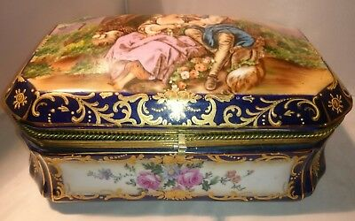 Vintage RS Prussia Repro Large Porcelain Jewelry Dresser Box Courting in Cobalt