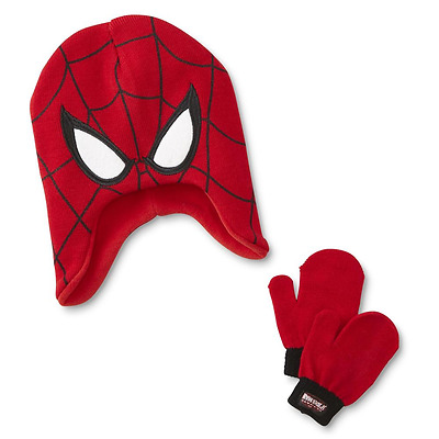Spiderman Toddler Boys Hat & Mitten Set New With Tags